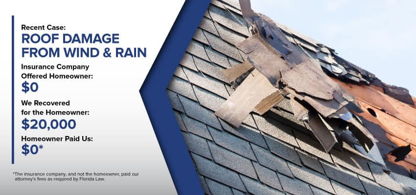 Roof Damage Insurance Claim Result rectangle blue